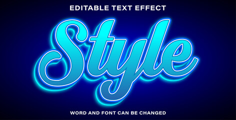 Wall Mural - Editable text effect style blue