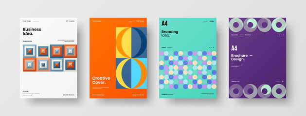 Abstract brochure cover vector design. Corporate identity geometric illustration template.