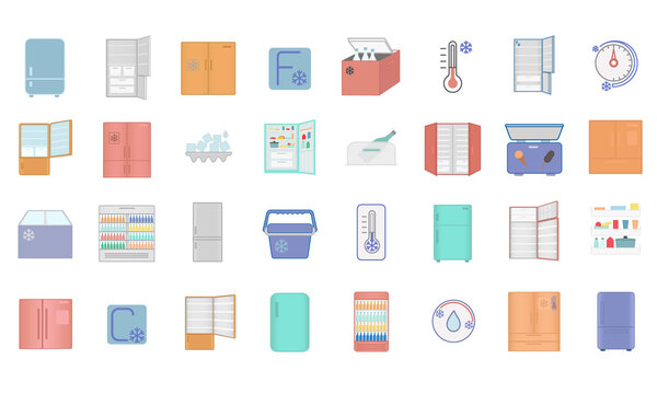 Large collection of 32 refrigerator icons showing different designs of fridge, cooler box and thermometers in colorful vector drawings