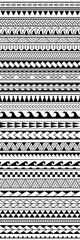 Set of vector ethnic seamless pattern in maori tattoo style. Geometric border with decorative ethnic elements. Gorizontal pattern. Design for home decor, wrapping paper, fabric, carpet, textile, cover
