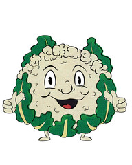 Funny, retro cauliflower cartoon character in vintage halftone effect giving thumbs up