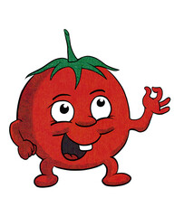 Funny, retro tomato cartoon character in vintage halftone effect giving thumbs up