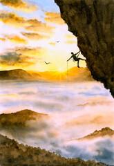 Watercolor Painting - Rock Climbing
