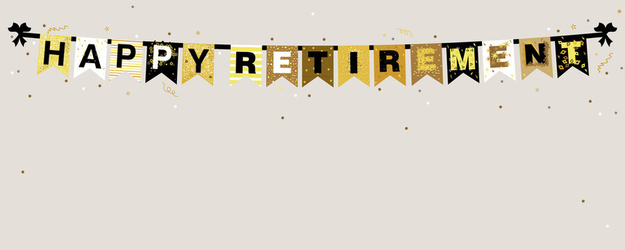 Vector illustration of Happy Retirement banner on a grey background with sparkles and confetti in flat design style