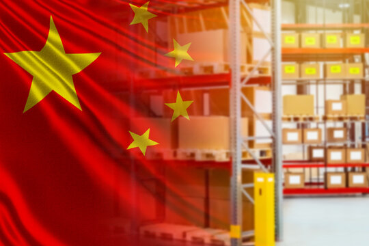 Warehouse and flag of China. Export of Chinese goods. Trade with PRC. Deliveries of Chinese goods to other countries. Shipments from the Republic of China.