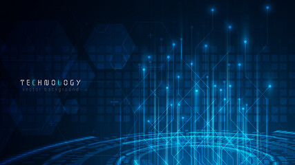 blue abstract hud cyberspace technology background; futuristic abstract circuit hexagon background design  Fotobehang