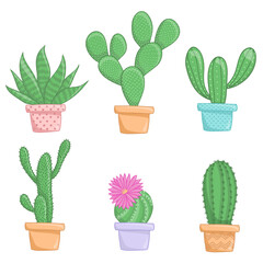 Cactus plants isolate on white background. Perfect for invitations,greeting cards,quotes,pattern,bouquet,T-Shirt, logos, Birthday cards etc