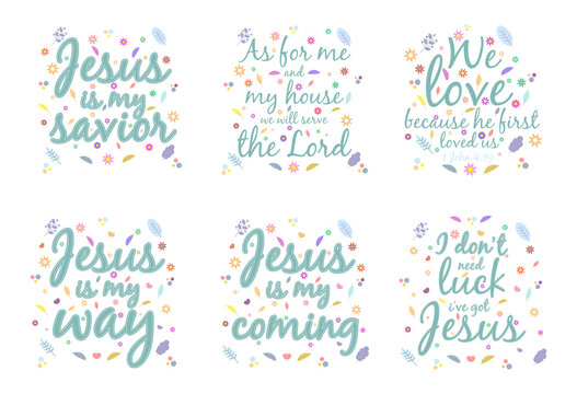 Set of illustration. God gives people hope. The Bible, the word of God. Christianity. The number of believers is growing. The inscription about God and Jesus. Bible study concept. Colorful vector