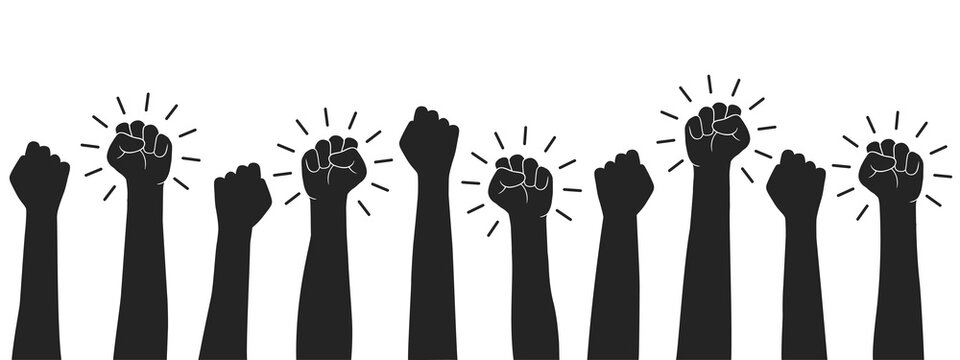 Set hands up proletarian revolution, clenched fist hand. Raised fist - symbol of victory, protest, strength, power and solidarity icon – vector