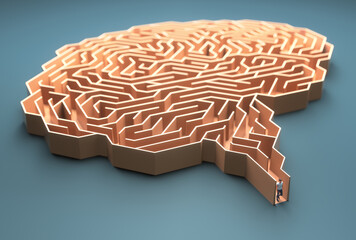 Brain shaped maze. Conceptual image of science and medicine.