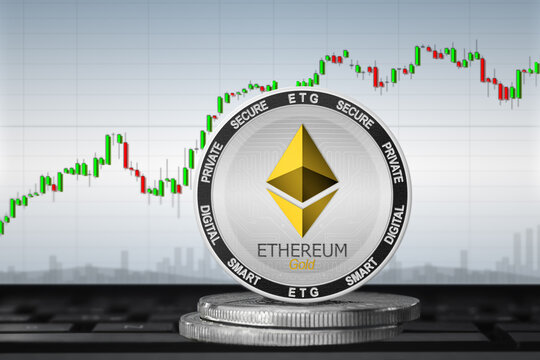 Ethereum Gold cryptocurrency; Ethereum Gold ETG on the background of the chart
