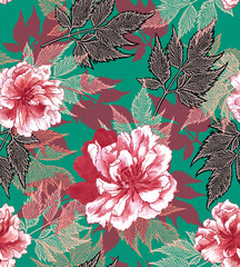 Bright watercolor Botanical fashion pattern with graphic flowers and green background.