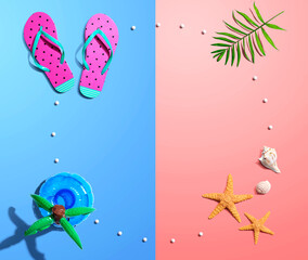 Summer concept with flip flops and starfish - flat lay