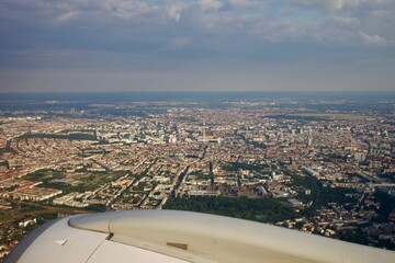 Incredible clear vie over Berlin, Germany from the plane in summer