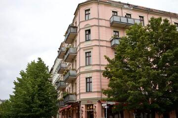 Cute pink architecture in Neukolln, Berlin