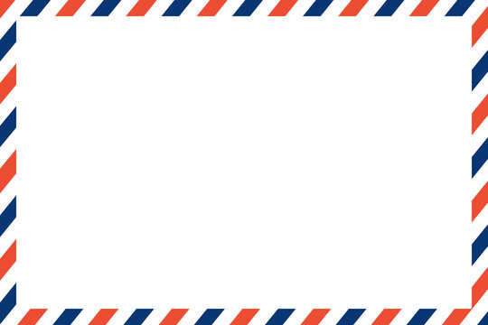 air mail letter vector. post stamp. airmail frame postcard. blue red stripes pattern. mockup template envelope. on white background. retro vintage blank message. world international label