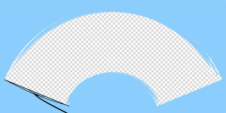 car wiper on windscreen or windshield vector illustration. rain water on front glass. clean dirt dust snow blades. road safety. auto motion mockup. transparent template. stock icon. inside vehicle