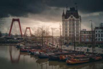 View of Oude Haven in Rotterdam, Netherlands (Holland)