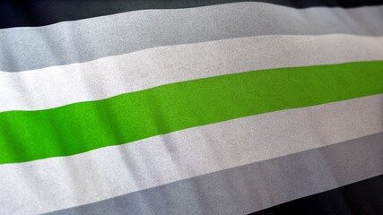3D illustration of Agender Pride Flag. Representing the Self-Respect absence of gender movement.