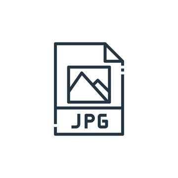 jpg file vector icon isolated on white background. Outline, thin line jpg file icon for website design and mobile, app development. Thin line jpg file outline icon vector illustration.