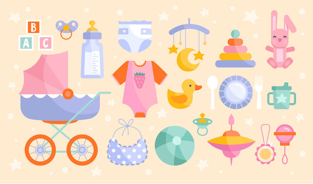 Set of baby goods icons in muted pastel colors with stroller, toys, clothing, ABC and a bottle of formula, colored vector illustration