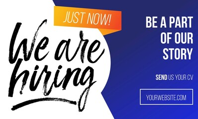 Fototapeta We are hiring colourful concept for banner or flyer. Vector recruitment design template with brush lettering, blue and orange colors. obraz