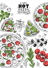 Italian pizza and ingredients top view frame. Italian food menu design template. Vintage hand drawn sketch, vector illustration. Engraved style illustration. Pizza label for menu.