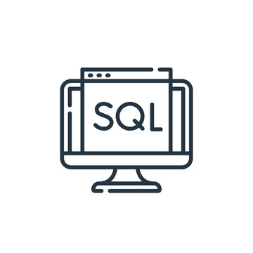 sql vector icon isolated on white background. Outline, thin line sql icon for website design and mobile, app development. Thin line sql outline icon vector illustration.