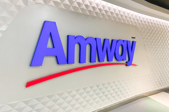 View of Amway Sign on the Wall in Silom Complex Thailand