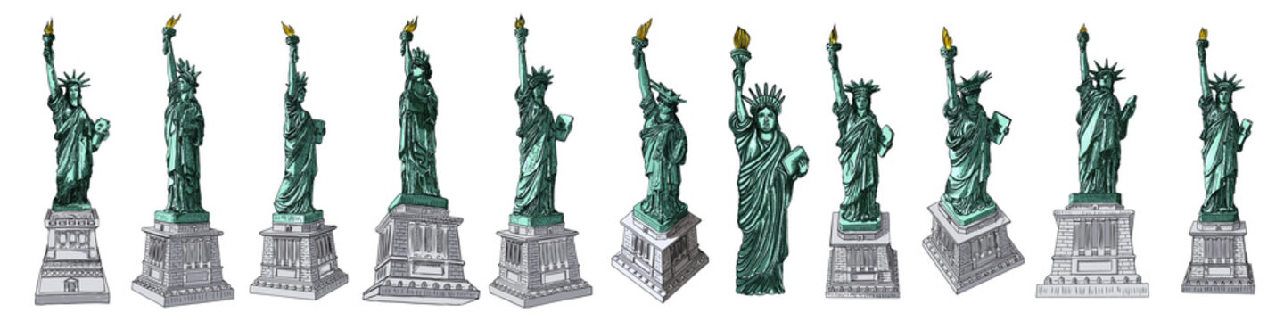US Statue of Liberty set drawings in color. USA New York city famous tourist landmark. Poster or flyers sculpture illustrations elements. Hand drawn logo of American symbol for presentations. Vector.