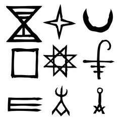 Wiccan symbols imaginary cross symbols, inspired by antichrist pentagram and witchcraft. Vector.