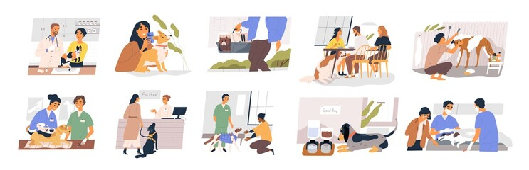 Different situation of pets life set vector flat illustration. Owners with their domestic animals - vaccination, vet passport, rehabilitation, sterilization, carrying and washing isolated on white