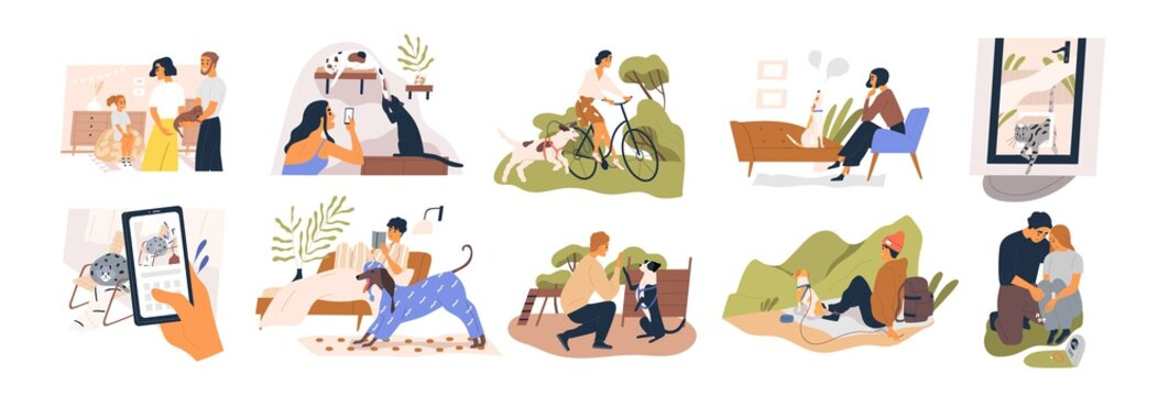 Collection of pets life with their owners in various scene vector flat illustration. Man, woman and child with domestic animals take photo, walking, training, traveling, gift puppy isolated on white