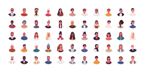 Deurstickers Wanddecoratie met eigen foto Set of different people avatars vector flat illustration. Collection of diverse man and woman portraits isolated on white. Smiling colorful young and adult person. Bundle of multiethnic user avatar