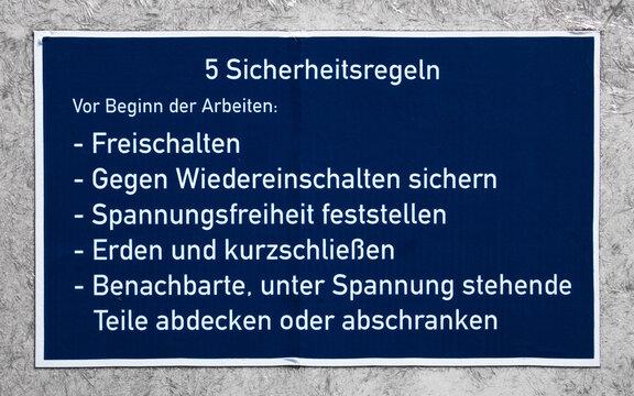 Fünf Sicherheitsregeln