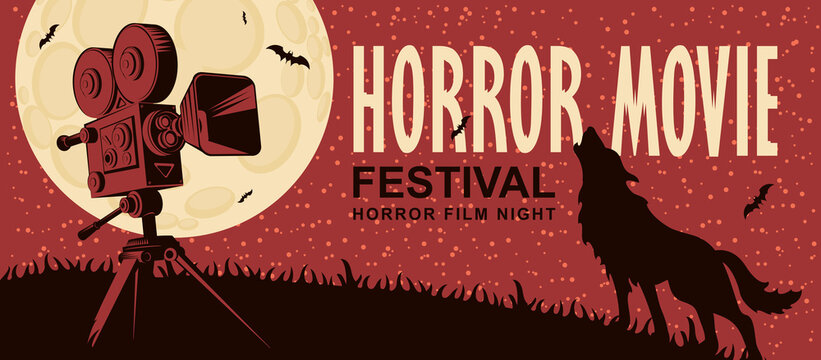 Horror movie. Vector poster for a festival of scary cinema with an old film projector and a werewolf howling at the full moon. Suitable for poster, flyer, banner, billboard, web design, ticket, ad