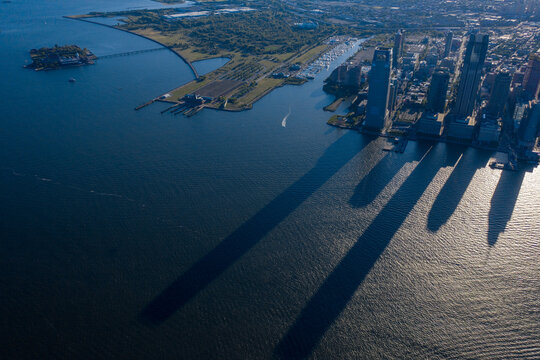 Aerial view of statue of liberty and Ellis Island, Jersey City, New Jersey