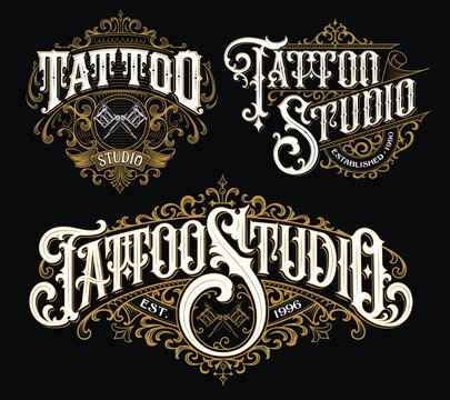 Vintage tattoo lettering logo set. Highly detailed tattoo emblems, logo, badges and t-shirt graphics.