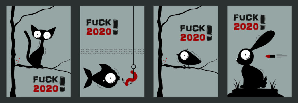Fuck 2020. Corona. Covid-19. Set of stickers for social media content. Vector hand drawn illustration design. Silhouette style poster, t shirt print, post card, video blog cover.