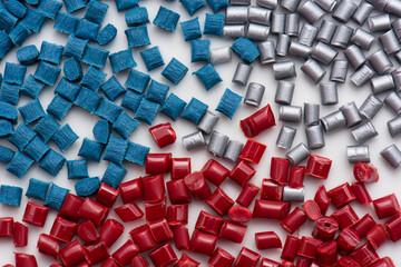 3 different plastic polymer granulates
