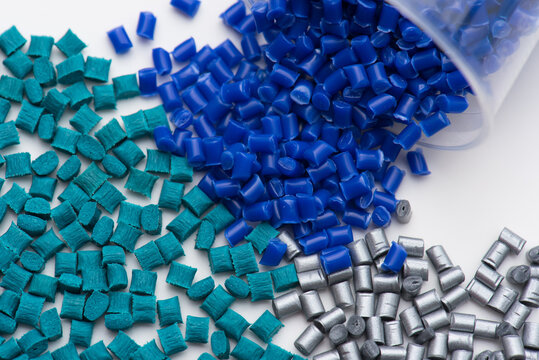 several different colored plastic polymer resins
