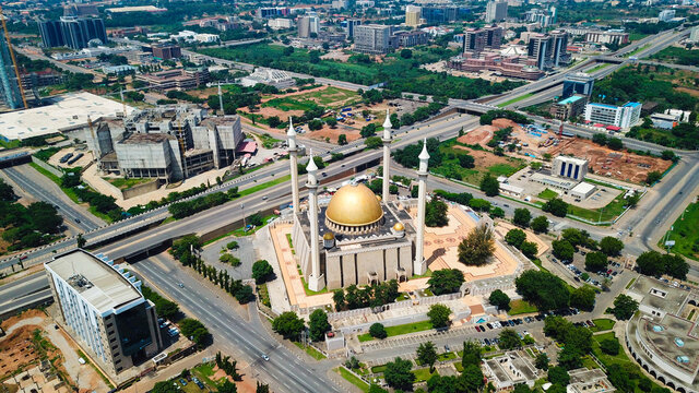 Aerial landscape view of commercial buildings in Abuja Nigeria