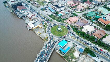 Top down view of a busy round about in Lekki Lagos Nigeria