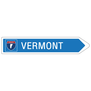 Roadway sign Welcome to Signage on the highway in american style Providing vermont