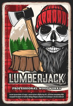 Lumber jack retro poster, lumberjack logger man skull beard, woodcutter man with axe. Lumberjack woodwork and woodcutter logging, tree stump and forest on shirt or plaid pattern vector background