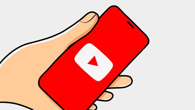 youtube on phone screen. youtube illustration. youtube background vector