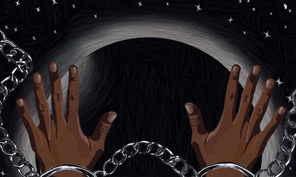 black hands chained, broken chains, structural racism, black planet earth, black lives matter, stop killing black people, police violence, anti-racist, racism, multicultural, diversity, illustraction.