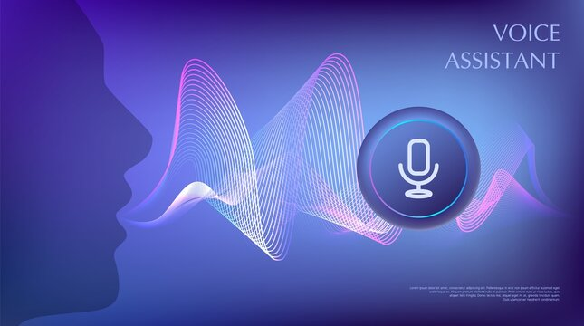 Person using voice control. Virtual assistant concept. Artificial intelligence support wave. Microphone and sound recognition. Button icon on digital line. AI signal equalizer. Vector illustration.