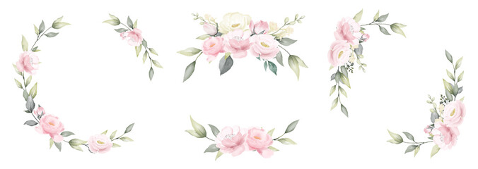 Estores personalizados com desenhos artísticos com sua foto Set of rose flower watercolor frame wreath design pink and white bouquet flower design vector.