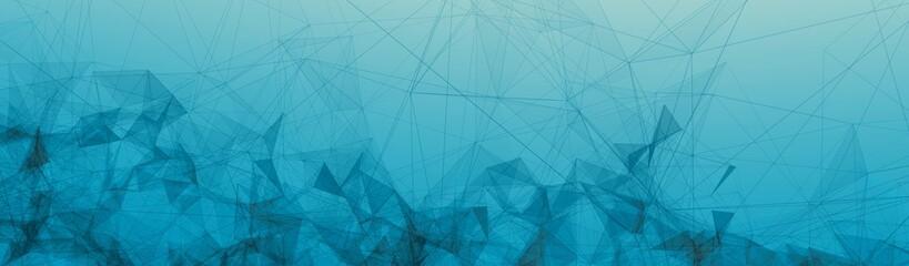 Black Trippy Abstract Plexus Polygon wireframe Shapes on Blue Gradient Background. Half Banner Web Banner 3D Illustration.